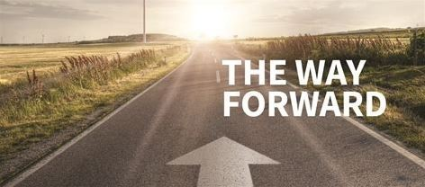A road with the caption 'the way forward'