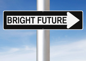 A direction sign syaing 'bright future'